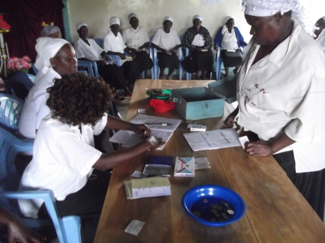 One woman purchasing shares in a savings group.