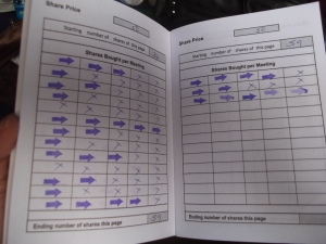 A member's records book: blue arrows indicate shares that this woman has purchased each week.
