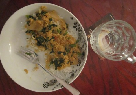 Finished product - spinach dahl with ginger and onion served on rice. Yum!