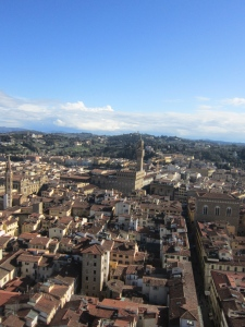 Looking at the Palazzo Vecchio from the top of Campanile di Gioto