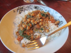 Wednesday night: Chickpea Curry and rice.