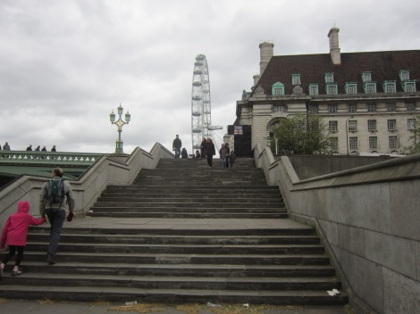 The steps up to Westminster Bridge. Helps to mix up my workout a bit