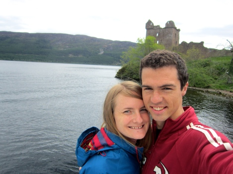 On the shores of Loch Ness, by Urquhart Castle